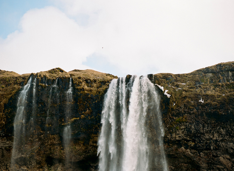 Seljalandsfoss waterfall, Iceland destination travel photography on film.