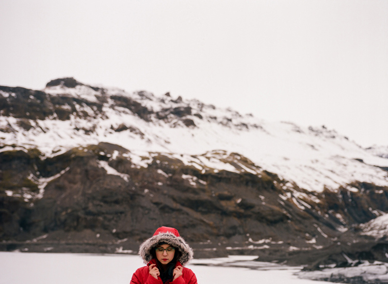 Destination travel photographer. Portraits on film. Solheimjakoll Glacier in South Iceland