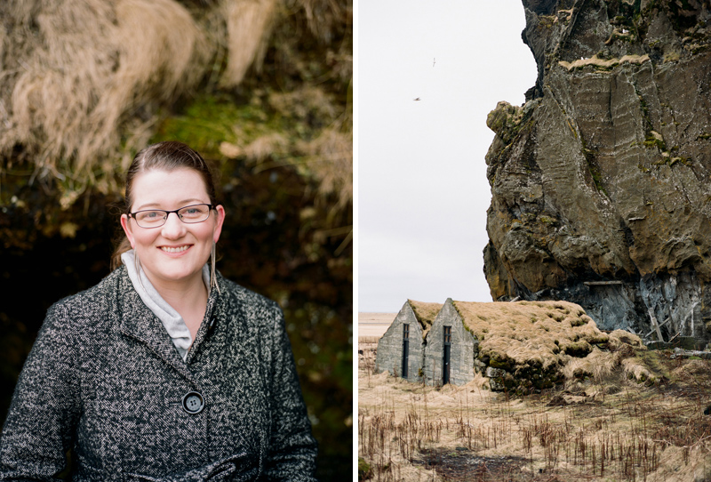 Portraits and travel photography on film at Drangshlid in Southern Iceland