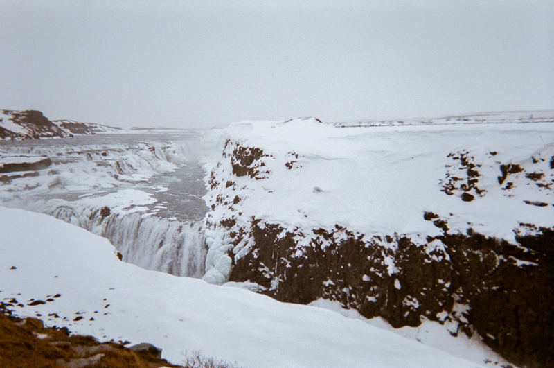 Gulfoss waterfall in Golden Circle Iceland. Travel film photography with disposable camera