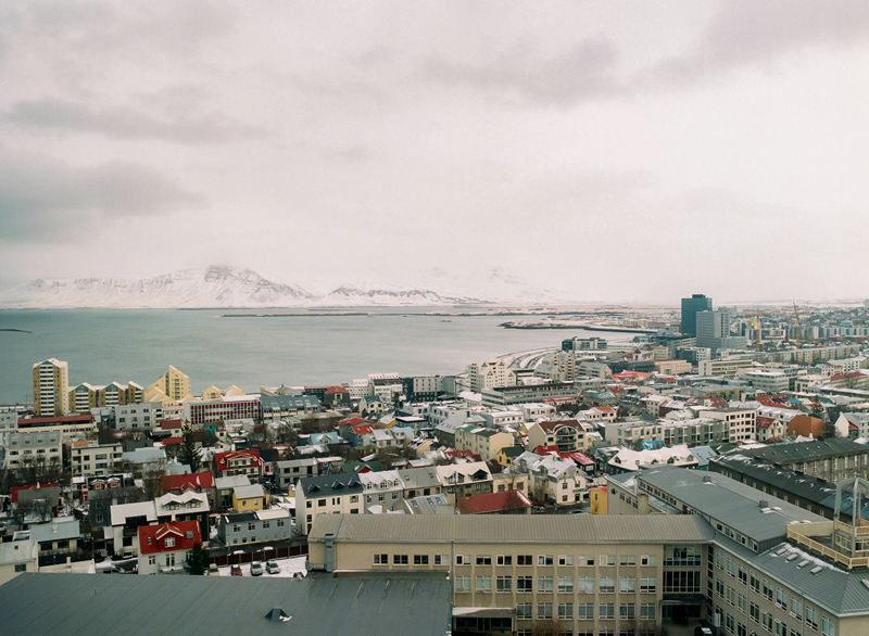 Reykjavik Iceland colorful rooftops and ocean from the top of Hallgrimskirkja church tower