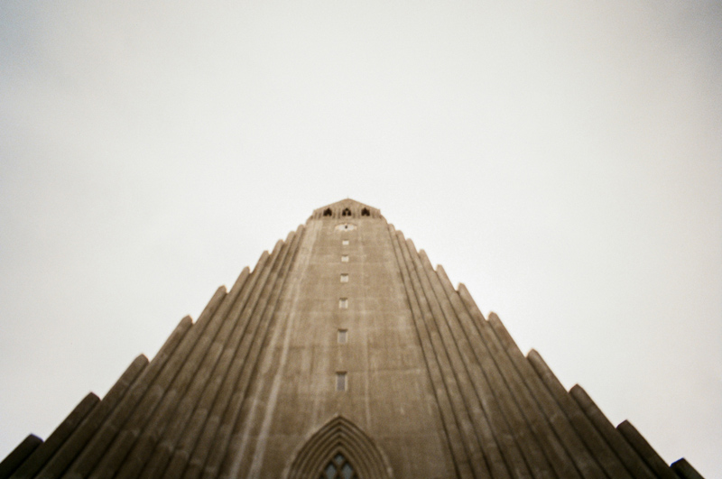 Hallgrimskirkja church in Reykjavik Iceland toy camera travel photography Lomo LC-Wide