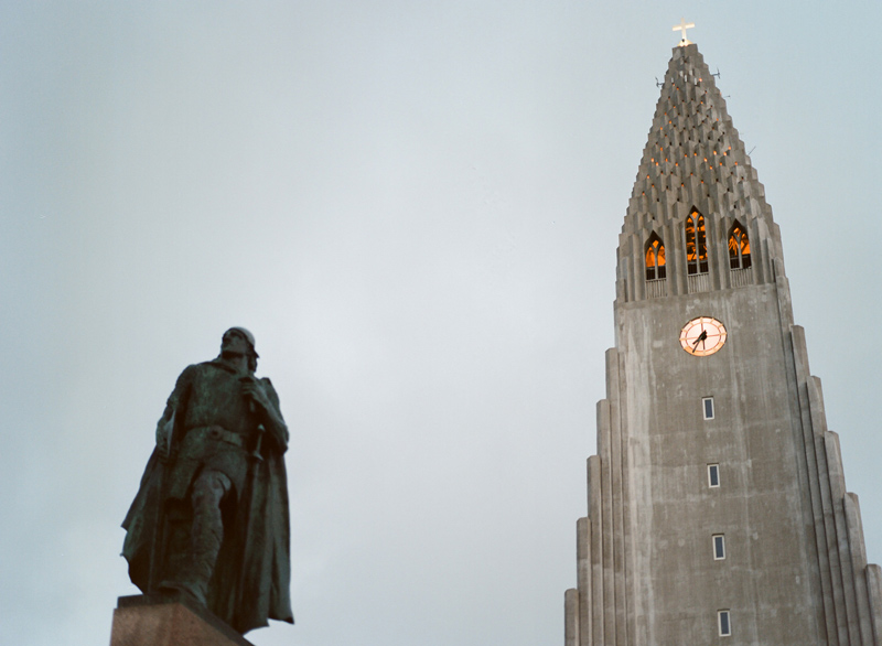 Travel photography of Lief Erikkson statue and Hallgrimskirkja church in Reykjavik Iceland