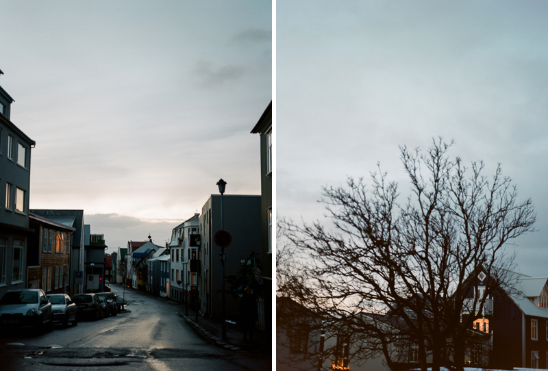 Twilight street photography in Reykjavik Iceland.
