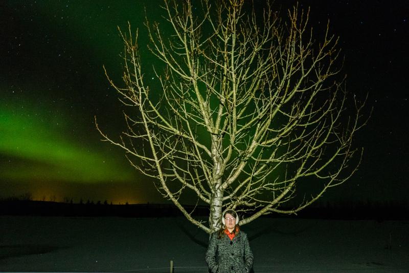 Selfoss Iceland Aurora Borealis timelapse portrait
