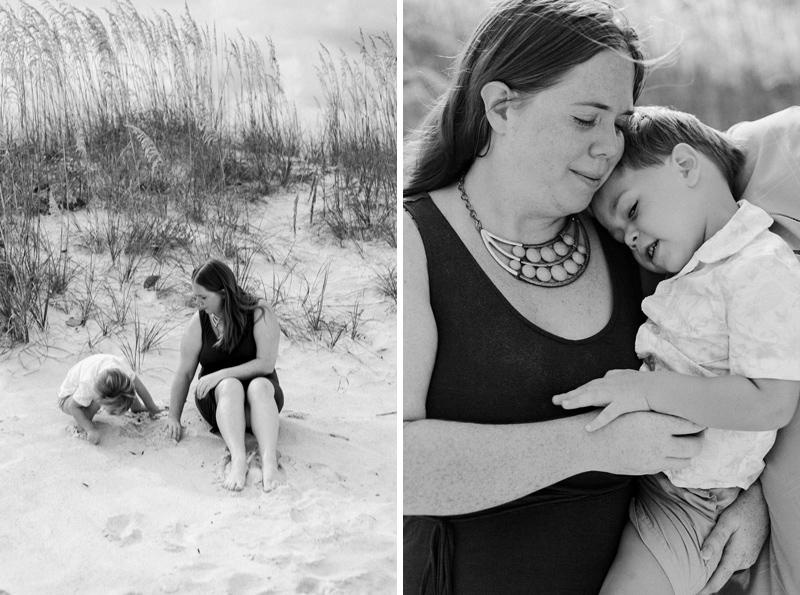 Sweet mom and toddler at documentary family session. Beach photography for families.