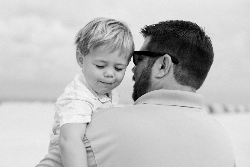 Dad and toddler and natural, candid family beach photography session