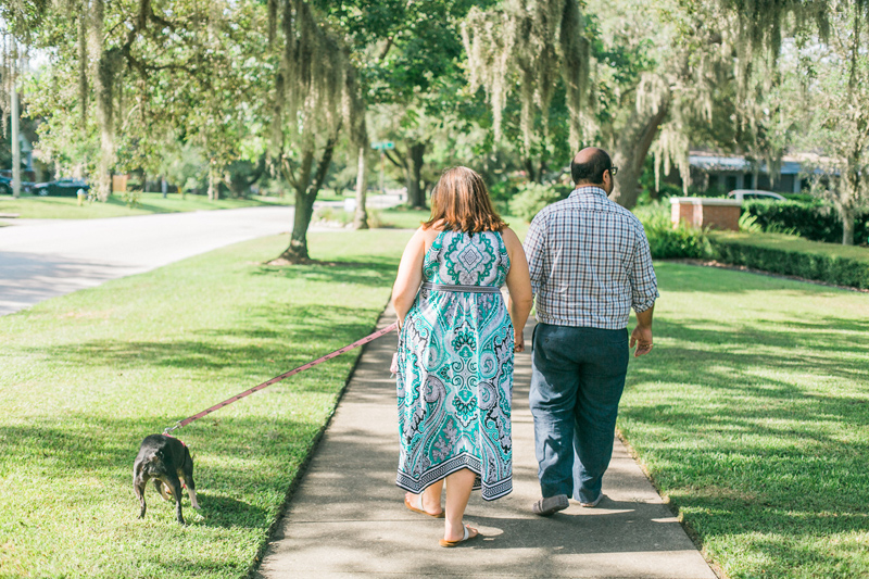 Take a walk with your dog for relaxed, sweet engagement photos