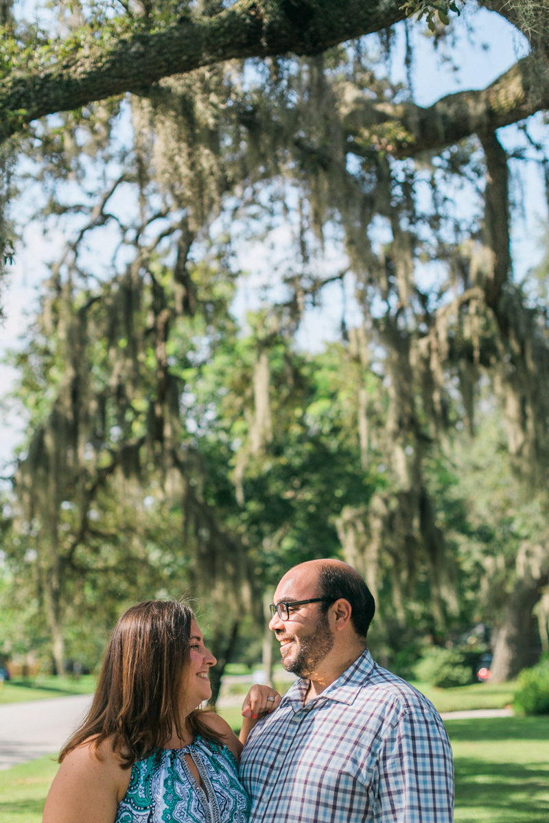 Spanish moss and natural settings for engagement photos