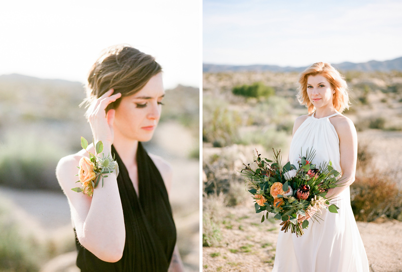 Bridal portraits at intimate outdoor wedding in California Joshua Tree park