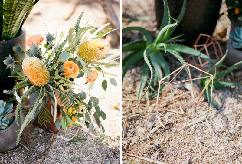 Modern geometric copper wedding details and florals at outdoor wedding in the desert