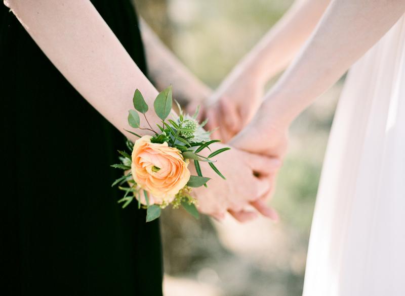 Martha Claire Floral design wrist corsage for modern desert lesbian elopement