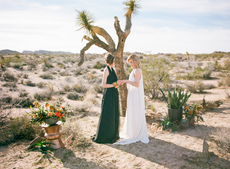 Stunning natural scenery for Joshua Tree elopement with two brides. Shot on film.