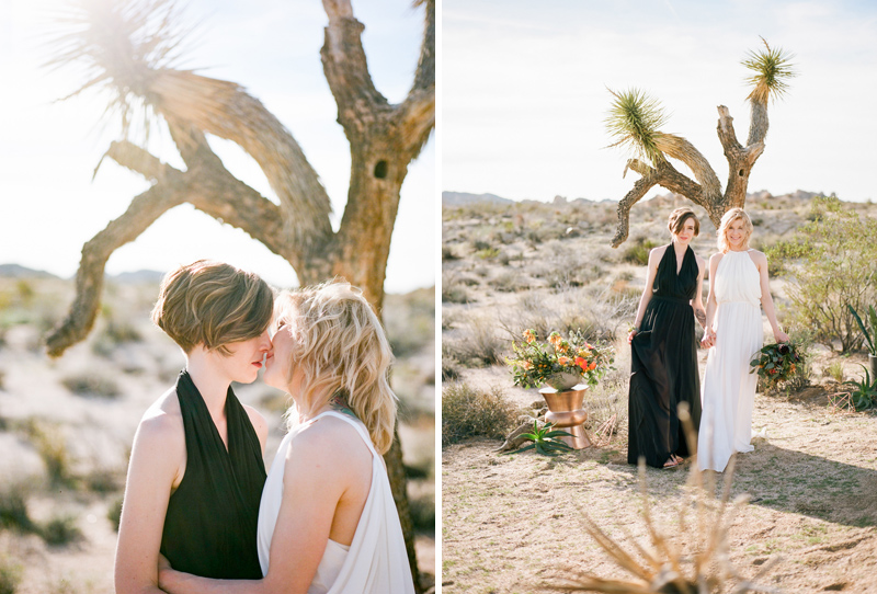 Romantic lesbian elopement in Joshua Tree park. Film photographer Jessica Schilling.