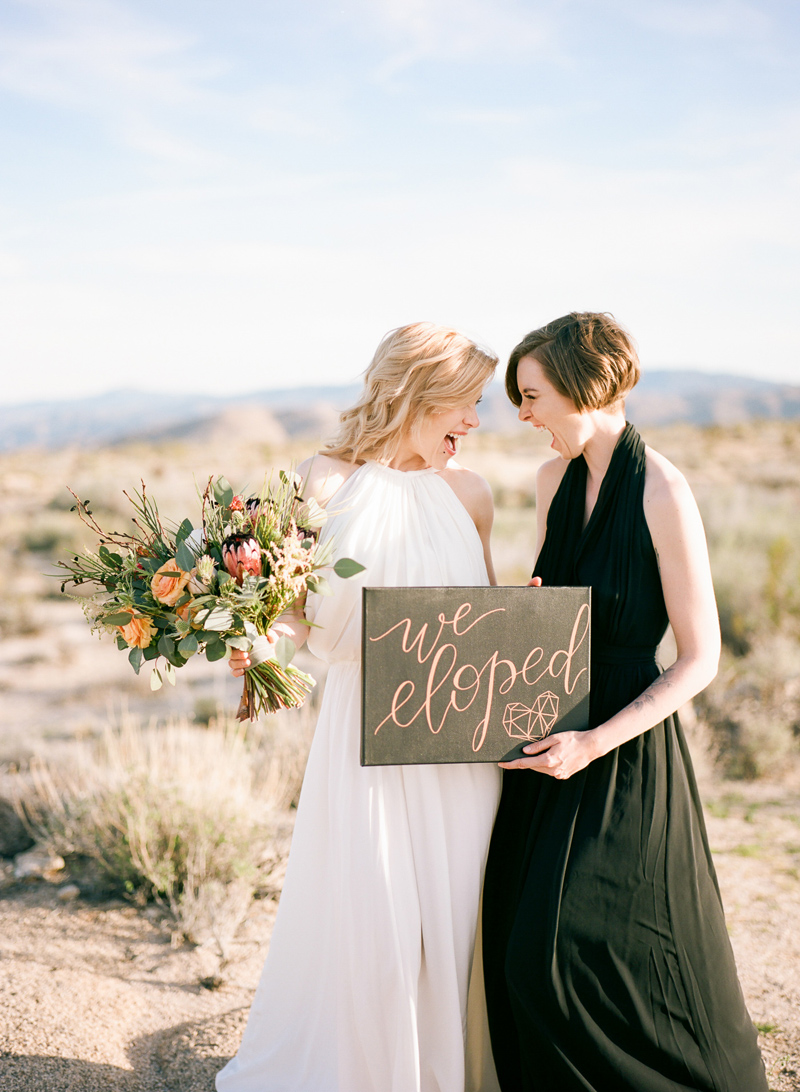 Outdoor elopement photographer. Get married in California's natural scenery. Joshua Tree two brides wedding.