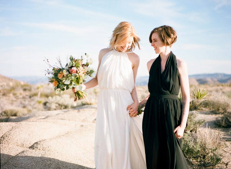 Joshua Tree elopement photographer. Same sex intimate wedding in the desert