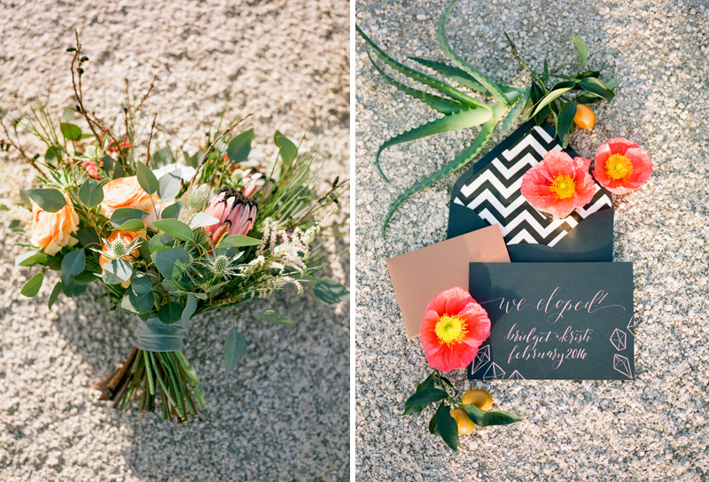 Joshua Tree elopement photographer. Wedding details - organic bouquet and copper invitation suite with poppies