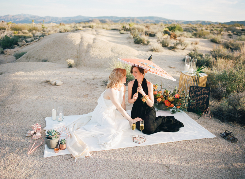 Intimate wedding reception in the desert