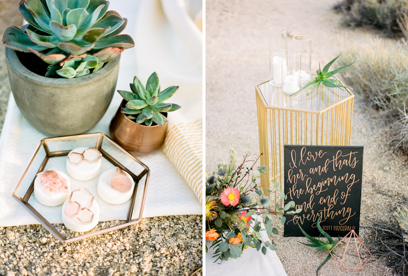 Joshua Tree desert elopement with modern geometric copper details