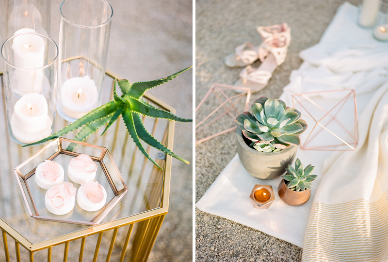 Modern geometric copper wedding details for simple outdoor intimate wedding in the desert