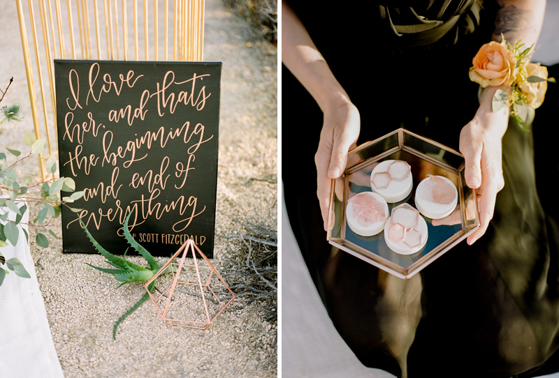 California destination elopements and intimate weddings. Geometric copper wedding details