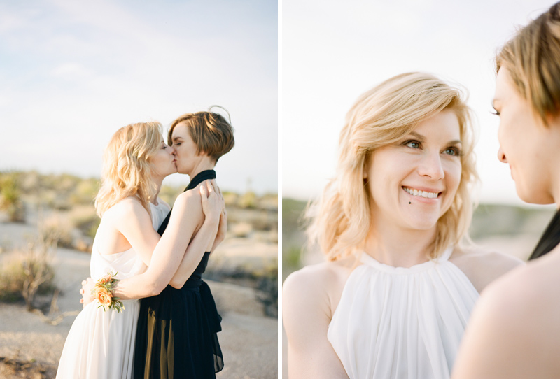 Romantic sunset lesbian elopement in the desert at Joshua Tree National Park