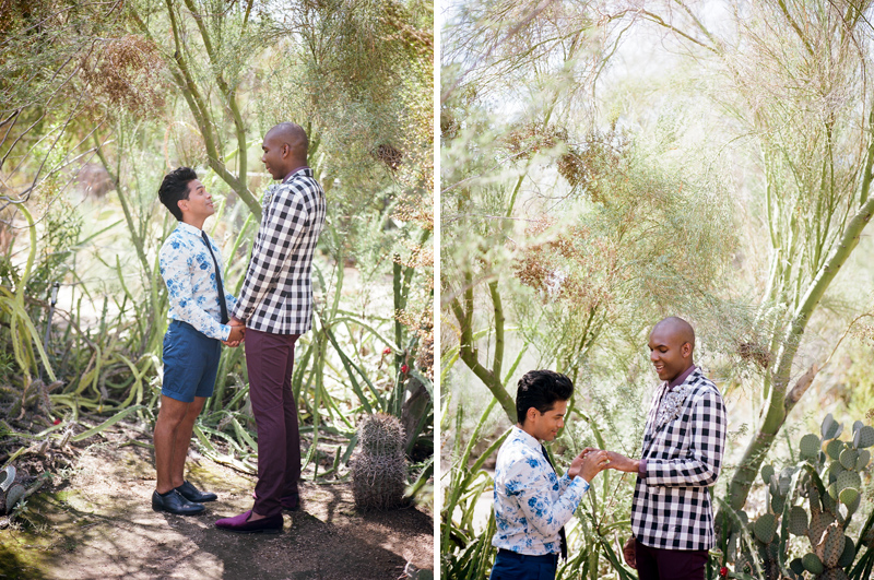 Moorten Botanical Garden cactus elopement with 2 grooms. Palm Springs wedding photographer Jessica Schilling