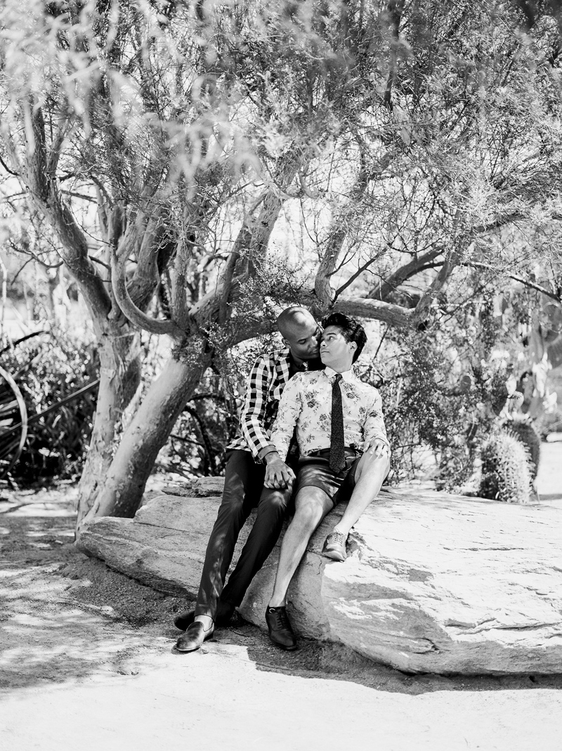 Outdoor elopement in Palm Springs cactus garden