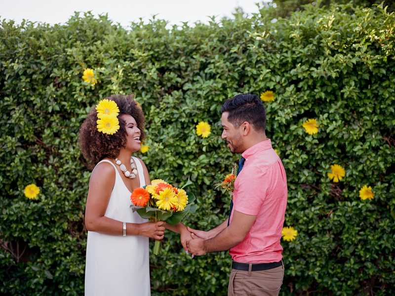 Backyard elopement photography at retro Palm Springs home