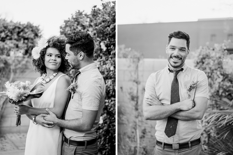 Interracial bride and groom. Palm Springs elopement.