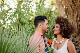 Gorgeous bride with natural hair at intimate backyard wedding in Southern California.