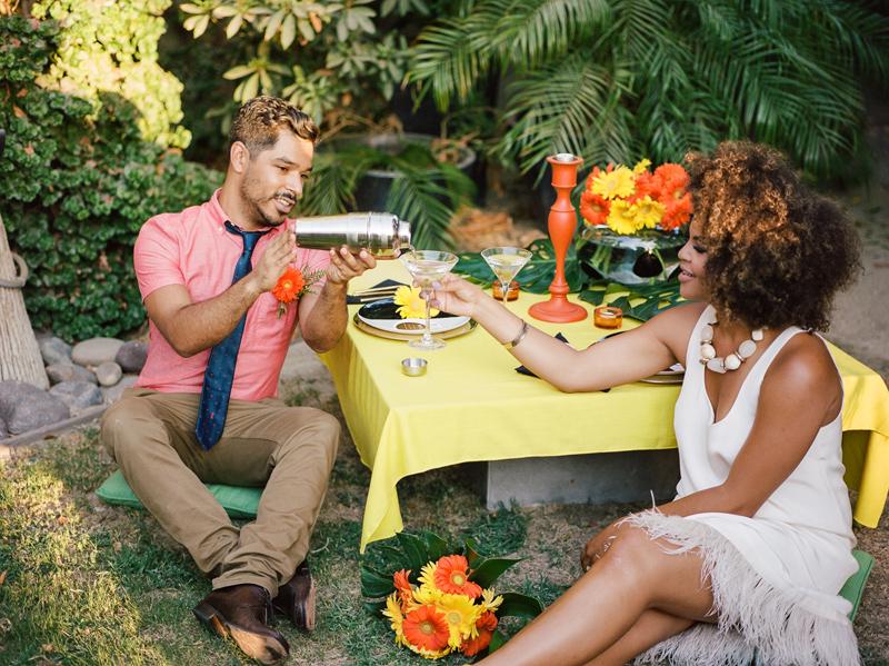 Outdoor elopement at Palm Springs backyard wedding