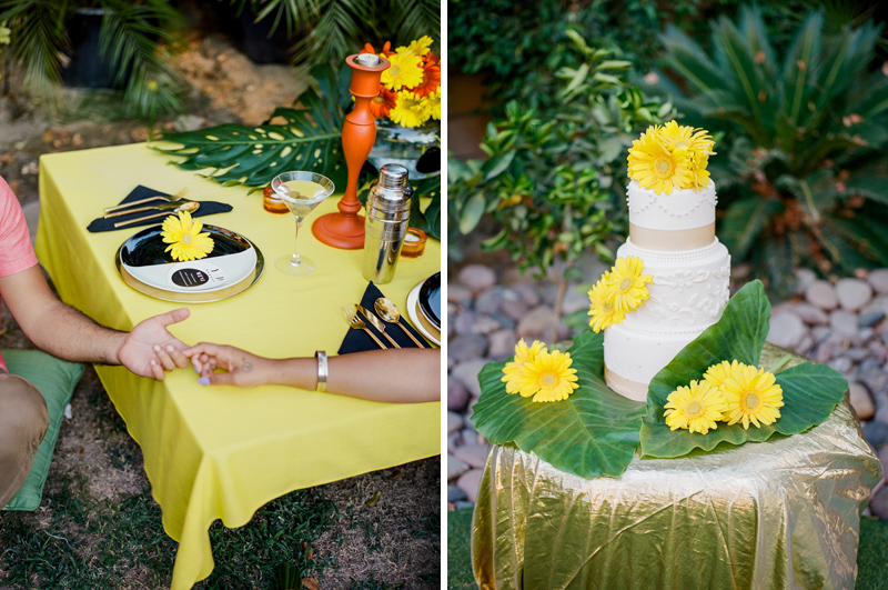 Backyard picnic reception and DIY cake for Palm Springs yellow and orange elopement