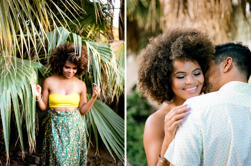 Romantic outdoor elopement with natural hair bride