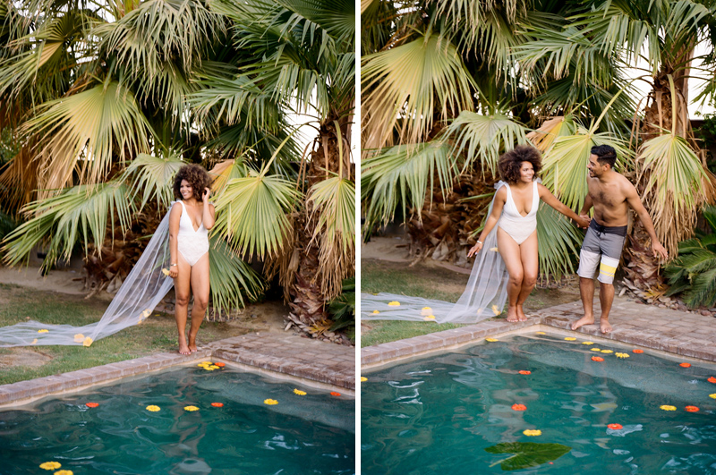 Palm Springs backyard wedding - bride and groom jump in pool