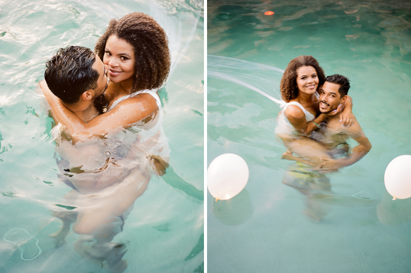 Palm Springs wedding photographer - bride and groom swimming in pool at backyard wedding