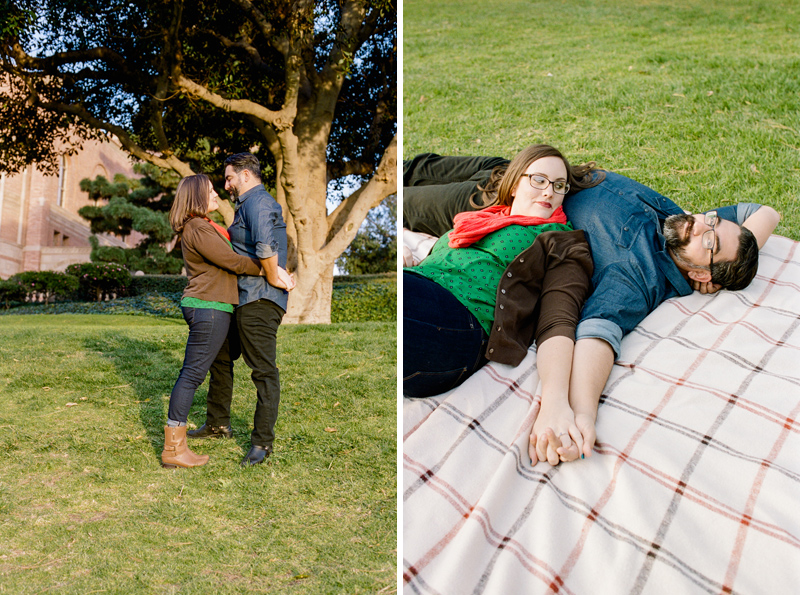 Sweet picnic engagement photos at outdoor session in Los Angeles