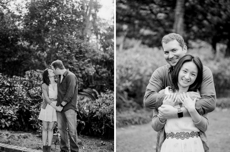 Black and white engagement photos on film