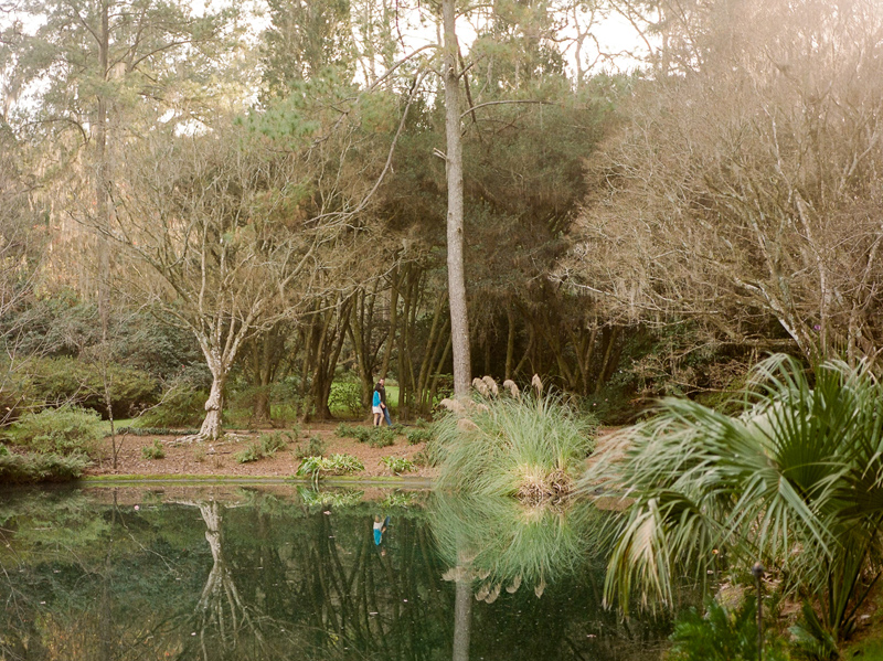 Natural setting at lake and botanical gardens for engagement adventure photos