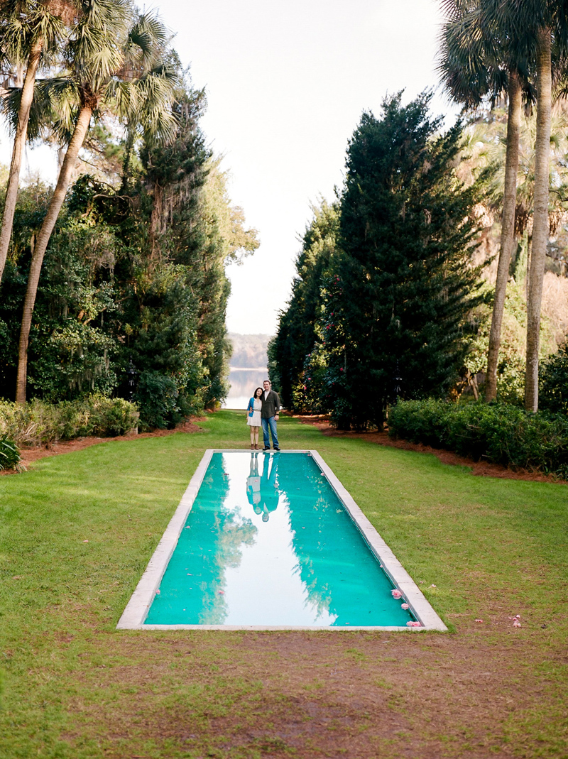 Maclay Gardens reflecting pool engagement photos on medium format film.