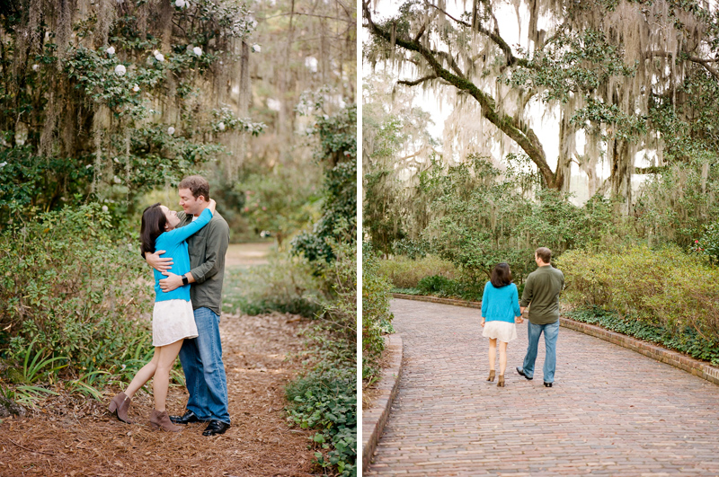 Botanical gardens engagement photos. Spanish moss, oak trees, and magnolia flowers.