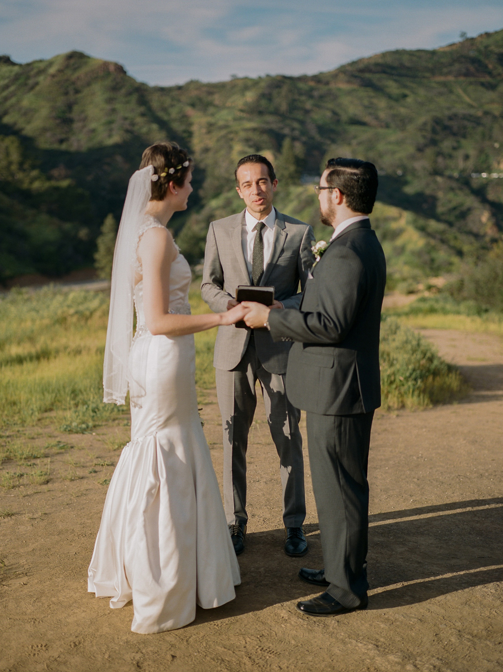 Beautiful outdoor elopement ceremony on film at Griffith Park in Los Angeles.