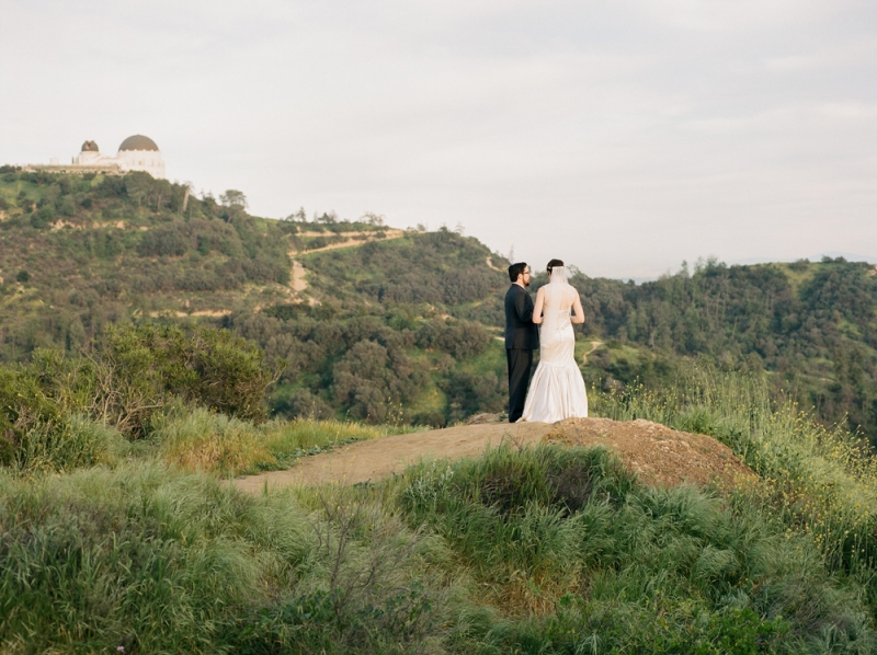 Griffith Observatory elopement - romantic intimate wedding captured on film by Jessica Schilling