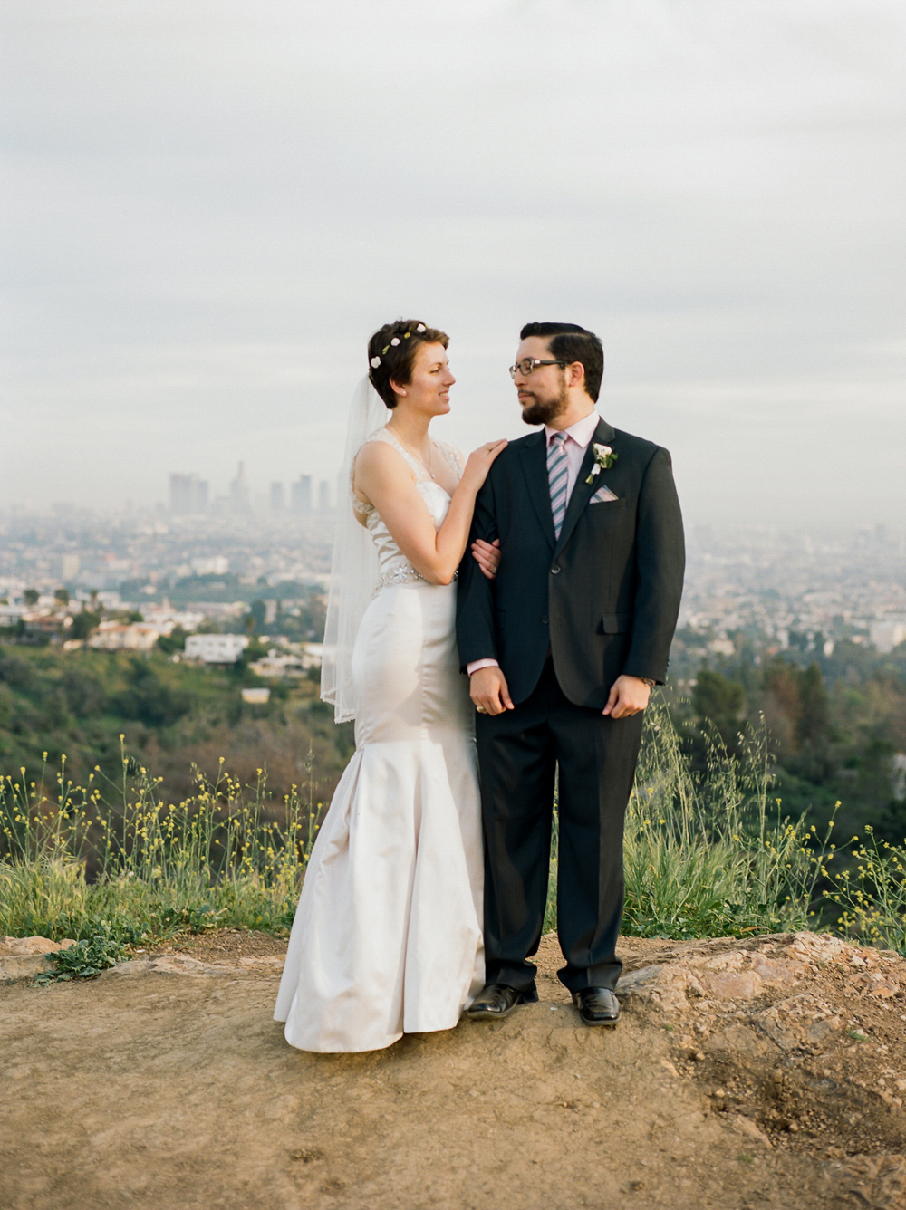 California outdoor elopement photographer - bride and groom portraits on film at Griffith Park