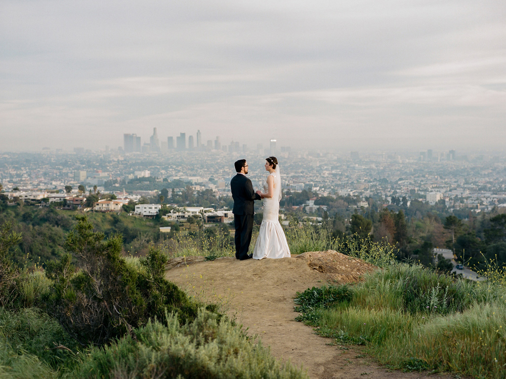 Los Angeles film photographer Jessica Schilling. Intimate elopement at Griffith Park with view of LA skyline