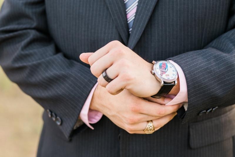 Offbeat wedding geek chic groom details with spiderman watch