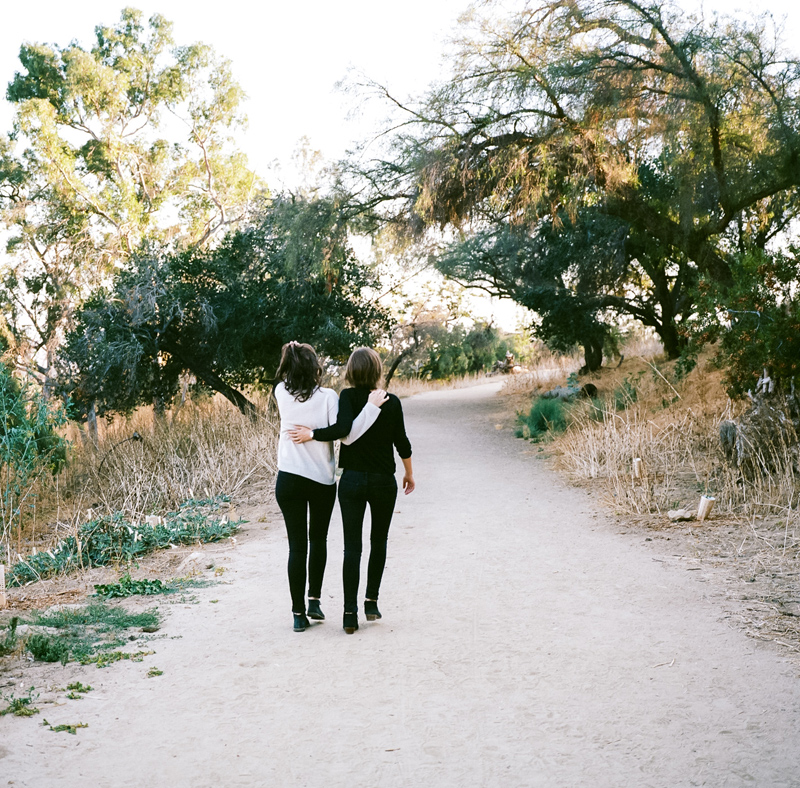 Natural outdoor settings for romantic same sex engagement session in LA