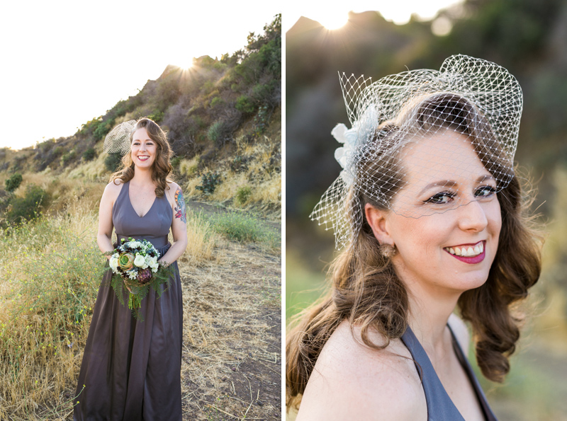 DIY veil and bouquet and grey wedding dress for California elopement