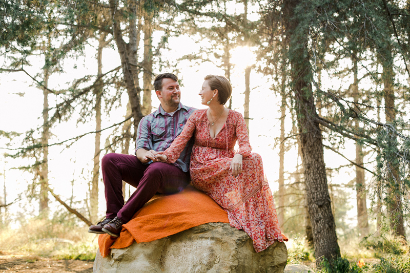 Hiking in the forest engagement session