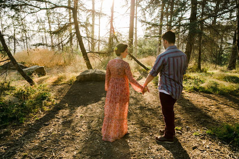 Woods and sunset natural engagement photos